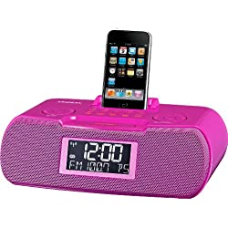 Sangean RCR-10 FM-RDS (RBDS) / AM / Aux-in Digital Tuning Atomic Clock Radio Compatible with 30 Pin iPod or iPhone (Pink) WITH FREE BLUETOOTH MUSIC RECEIVER