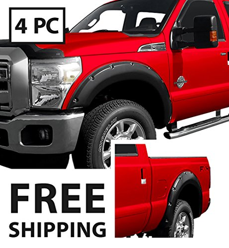 Premium Pocket Bolt-Riveted Style Fender Flares for 1999-2005 Ford F250 F350 Super Duty Styleside models | Smooth Matte Black Paintable 4pc Ford Super Duty Fender Flares