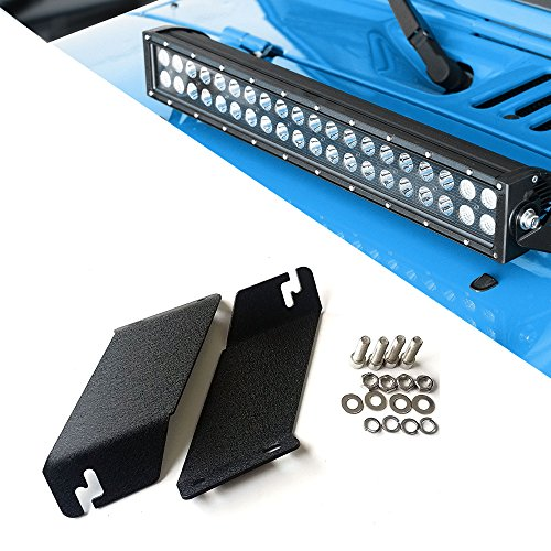 Engine Frame Brackets (TURBOSII 20-22 Inch Single Row/Dual Row LED Work Light Bar Windshield Front Frame Engine TOP Hood Mounting Brackets Front Hood Hinge Mount Brackets For 2007-2016 Jeep Wrangler JK)