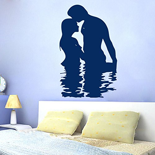 Housewares Vinyl Decal People Man and Woman Silhouettes in the Water Kiss Love Home Wall Art Decor Removable Stylish Sticker Mural Unique Design for Any Room by Decal House