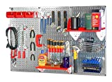 Wall Control 30WRK400GVR 4-Feet Metal Pegboard Standard Tool Storage Kit with Galvanized Toolboard and Red Accessories