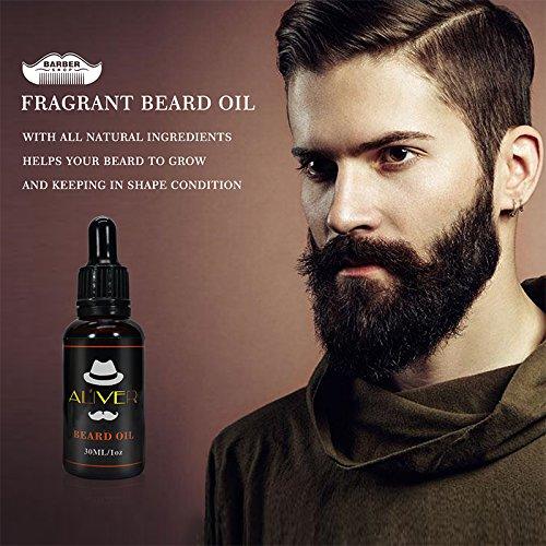Kit de regalo para el cuidado de la barba para hombre, 5 piezas, kit de cuidado de la barba - Champú + cepillo de barba + peine de barba + acondicionador de ...