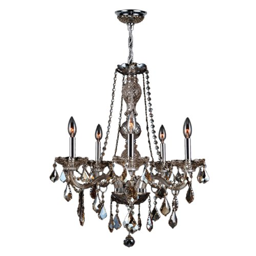 Piece 5 Provence (Worldwide Lighting Provence Collection 5 Light Chrome Finish and Golden Teak Crystal Chandelier 21