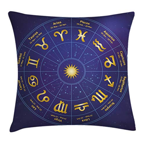 Ambesonne Astrology Throw Pillow Cushion Cover, Horoscope Zodiac Signs with Birth Dates in Circle with Star Dots Print, Decorative Square Accent Pillow Case, 24 X 24 Inches, Royal Blue and Yellow