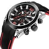 Mens Sport Analog Watches Fashion Rubber Chronograph Waterproof Wrist Watch Black