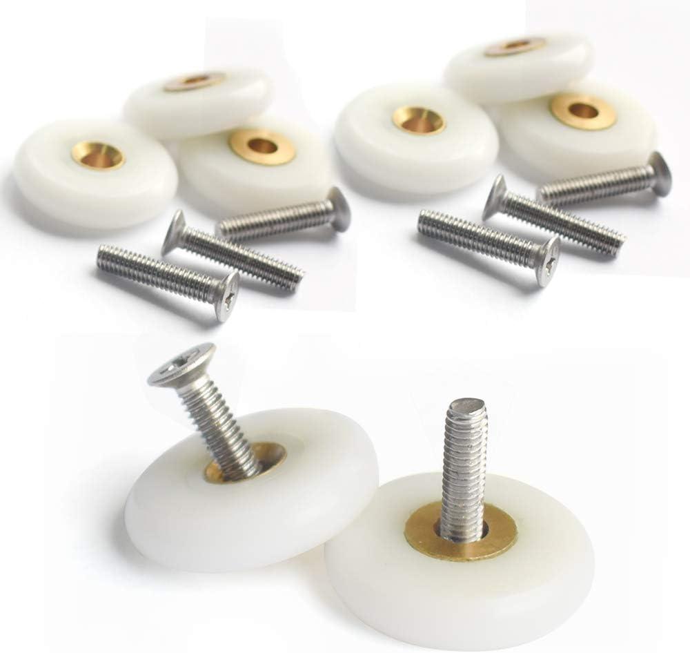 Roulettes en cuivre 8 pi/èces avec vis de 20 mm de longueur Yuanqian Roues de douche de 20 mm pour porte de douche