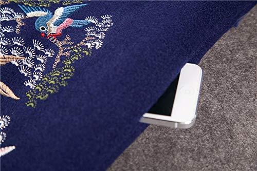 A Inverno Lana Signore Ricamo Lunghe Cinese Vento s E Sciolto Giacca Di Fjthy Lungo Vintage blu Maniche Cappotto Nuovo Autunno qFOEwxB0