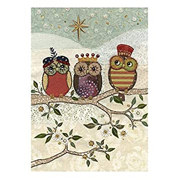 Artistic Christmas Cards Ba0038 Three Wise Owls Pack Of 5 Cards