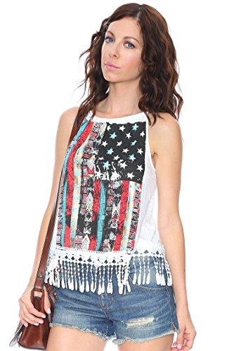 Grayson Shop American Flag Fringe Tank White M - Foil Print Tie Back Top
