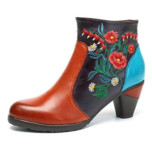 Socofy Damen Ankle Boots, Kurzschaft Stiefel High-Top Classic Lederstiefel Leather Boots Frau Zipper Handmade Chukka Lederschuhe(Hersteller-Größentabelle IM Bild Beachten) Orange