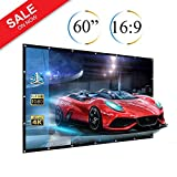 60'' Projector Screen, 60 inch Diagonal 16:9 Projection HD Anti-Crease Foldable Portable Screen for Home Theater Widescreen Travel PPT Business Presentation Outdoor Indoor