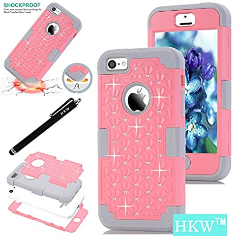 iPhone 5C Case,5C Diamond Case,HKW (TM) Bling Rhinestone 3 IN 1 Armor Shockproof Protective Back Case Cover for Apple iPhone 5C with Stylus Pen (Pink/Grey) (Pink Iphone 5c Phone Case)