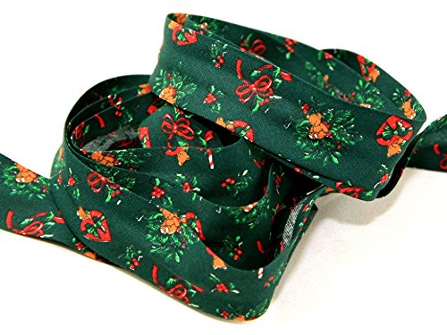 Cotton Print Teddies - 25mm Christmas Teddies Print Cotton Bias Binding Tape Green - per metre