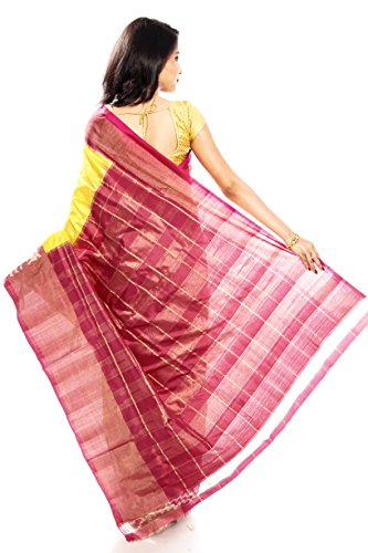 Mandakini — Indian Women's Pochampally - Handloom - Ikat Pure Silk Saree (Yellow ) (MK315) by Mandakini (Image #4)