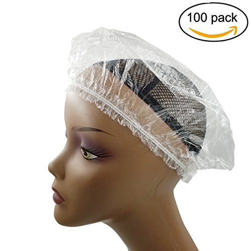 Price comparison product image 100 PCS Clear Disposable Plastic Shower Caps Large Elastic Bath Cap For Spa ,Home Use,Hotel and Hair Salon100 pack