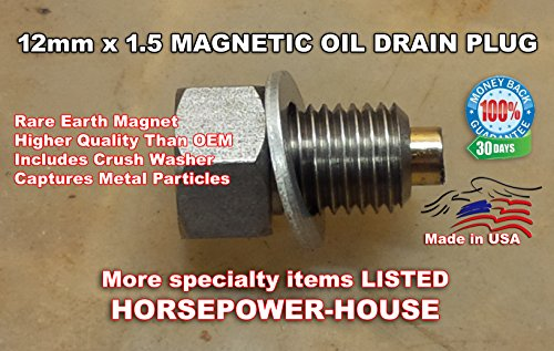 MADE IN USA 12mm 1.5 12-1.5 12x1.5 Magnetic Crankcase Cover Oil Pan Drain Plug Bolt with Washer for many Polaris RZR Ranger XP XP4 Sportsman 570 800 900 1000 Turbo Powersport ATV UTV SxS and more (Best Oil For Polaris Rzr 900 Xp)