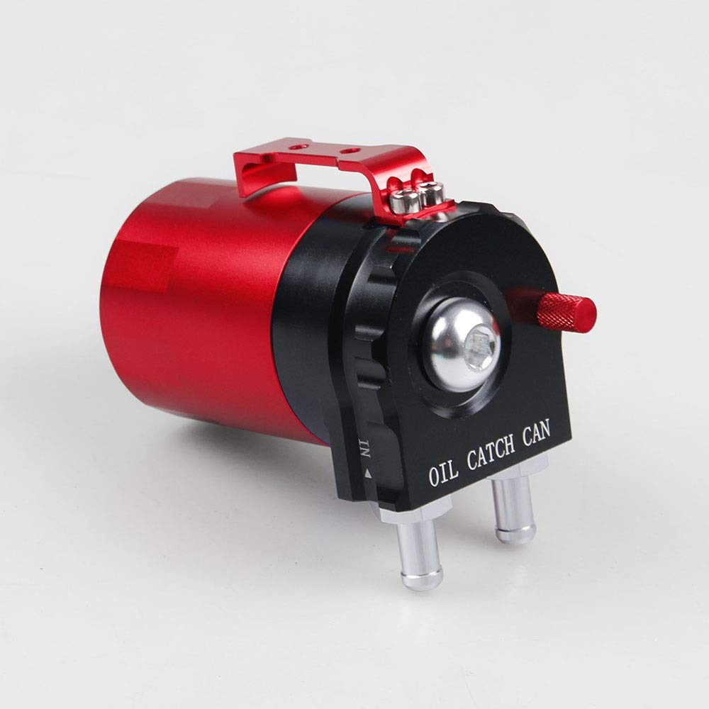 Color : Black+red Dig dog bone Universal Aluminum Oil Catch Can Tank Cylinder Catch Reservoir Car Can Breather Filter Kit Increases Horsepower and Prolongs Engine Life