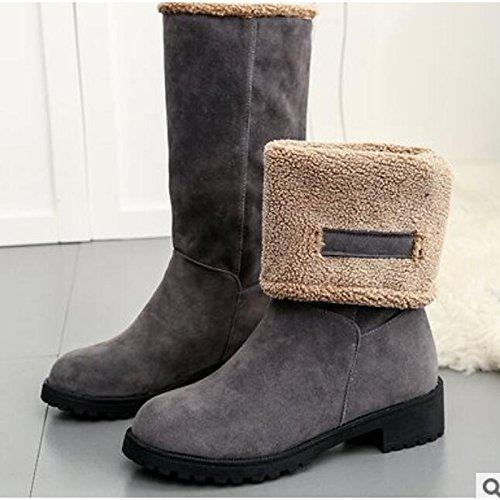 Winter Casual Chunky HSXZ Fall Army Comfort Black Shoes Knee Round PU Boots Heel Black High Boots Toe Women's ZHZNVX Gray for Green 8IxdaqAa