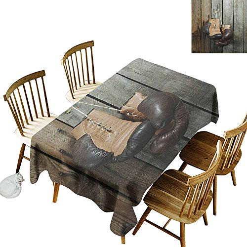 DONEECKL Vintage Durable Tablecloth Washed Vintage Boxing Gloves on The Old Wooden Background Antique Equipment Photo Art Print Brown W54 xL72]()