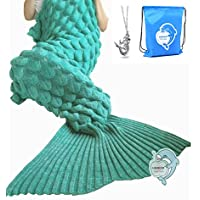 LAGHCAT Mermaid Tail Blanket with Scale Knit Crochet...