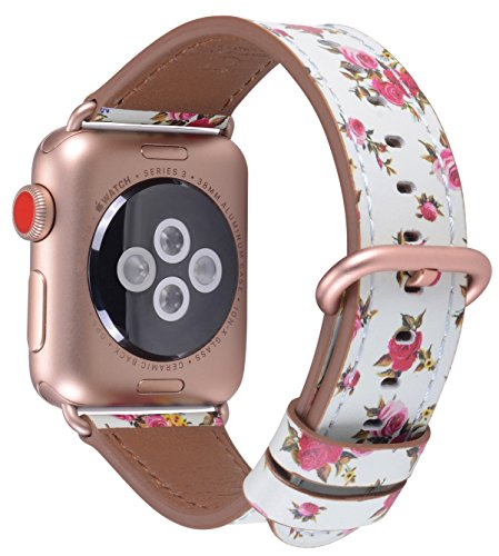 JSGJMY Compatible for Iwatch Band 38mm 40mm S/M Women Genuine Leather Replacement Strap for Series 4 3 2 1,Mint/Pink Rose Floral Printed with Series 4/3 Rose Gold Clasp