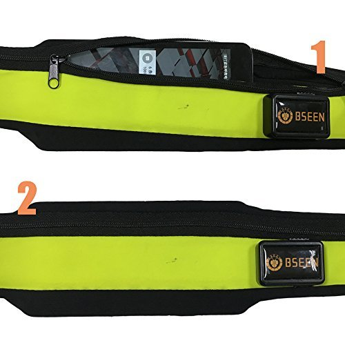 BSEEN Led Running Belt USB Rechargeable Reflective Waist Pack High Visibility Fanny Pocket for Running Walking Camping Cycling
