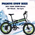 "KEANTY 20"" Folding Electric Mountain Bike, Fat Tire Electric Bike Beach Snow Mountain Bicycle with 36V/10AH Large Capacity Lithium Battery and Two Cycling Modes"