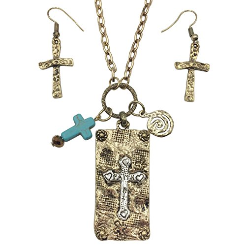 2 Tone Artesian Look Stamped Cross Pendant Necklace & Earrings Set (Burnished Gold Tone)