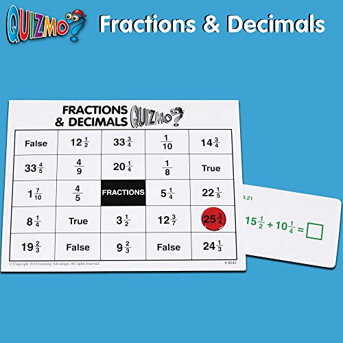 51aAFxtDiqL - Learning Advantage QUIZMO Advanced Elementary Math Series - Set of 6 Bingo-Style Math Games for Kids - Teach Fractions, Decimals, Math Vocabulary, Geometry, Place Value and Integers