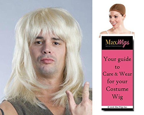 80s Rocker Metal Band Color Blonde - Enigma Wigs Garth Waynes World Hair Hard Rock 1980s Men's Bundle with Wig Cap, MaxWigs Costume Wig Care - Garth Waynes