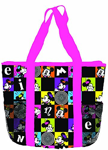 Disney Classic Minnie Mouse CUTE Checkered Mesh Pocket Tote Bag - Pink Black (Disney Adult Outfits)