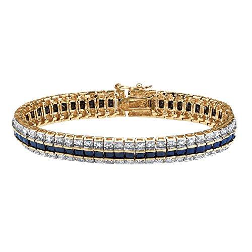 Palm Beach Jewelry Princess-Cut Genuine Midnight Blue Sapphire Diamond Accent 18k Gold-Plated Tennis Bracelet 7