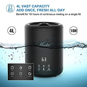 Mooka Air Humidifiers, Ultrasonic Cool Mist Humidifiers With 4L Large Capacity, Touch Button Control, Sleep Mode, Timers, Ajustable Mist Level for Large room, Baby Room