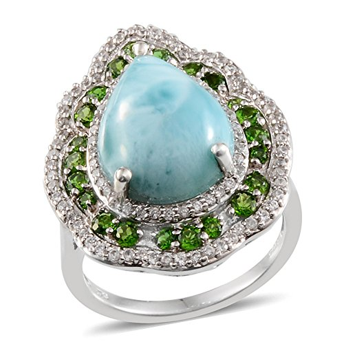 925 Sterling Silver Pear Larimar, Diopside Ring Size 7 (Larimar Pear Ring)
