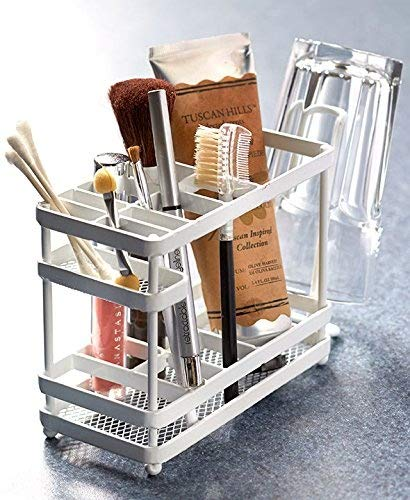 The Lakeside Collection White Metal Bathroom Countertop Organizer