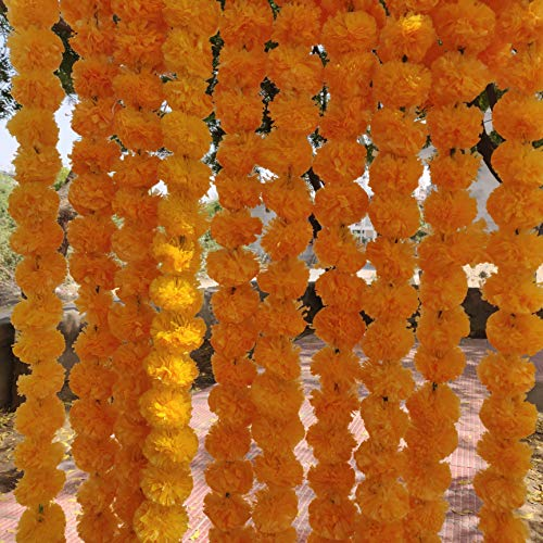 INDIANDECOREVINTAGE 20 PCS Gold BACKDROPS for A Party Artificial Fiber Marigold Flowers Strings Indian Style Wedding Garlands Event Party Decorations Home Decor Strings Gold BACKDROPS (4.5 Feet)