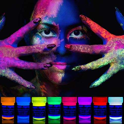 neon nights 8 x UV Body Paint Black Light Make-Up 5.5 fl oz Bodypainting Neon Blacklight Bodypaint Face Paints (Best Cheap Face Paint)