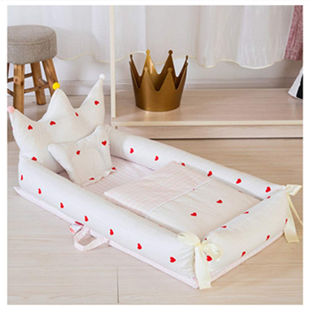 Baby Sleep Portable Travel Crib Bedding Breathable nest Anti-Pressure Bionic Bed,Baby Bed + Blanket + Pillow 3-Piece Set (White Love) by zc