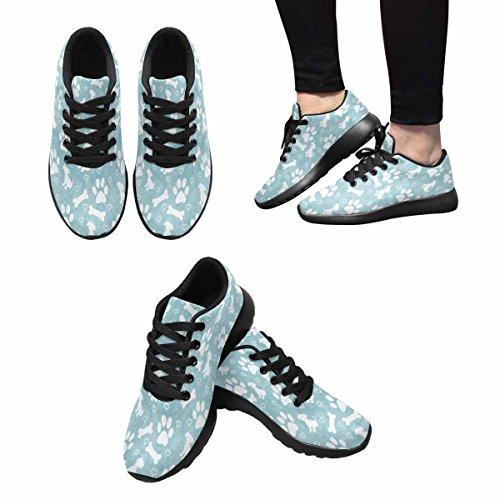 Interessante Donna Da Jogging Corsa Sneaker Leggero Andare Facile A Piedi Comfort Sport Scarpe Da Corsa Verde Zampa Di Cane, Cucciolo, Osso E Cuori Multi 1