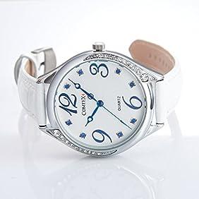 Comtex Women Analog-Quartz Fashion White Dial Cute Wrist Watch with Leather Strap