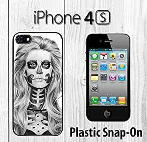 Day of the Dead Skull Girl Sexy Custom made Case/Cover/skin FOR iPhone 4/4s -Black- Plastic Snap On Case ( Ship From CA)