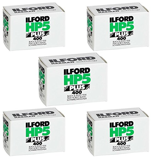 Pack of 5 Ilford 1574577 HP5 Plus, Black and White Print Film, 35 mm, ISO 400, 36 Exposures
