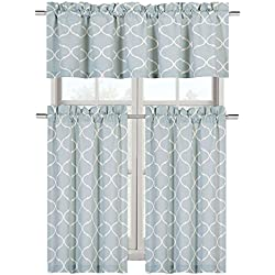 Regal Home Collections Shabby Trellis Kitchen Curtain Tier & Valance Set - Assorted Colors (Maison Restoration Green)