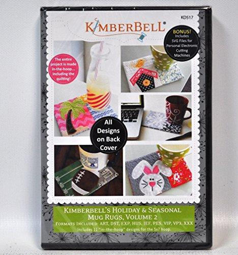 Kimberbell Holiday and Seasonal Mug Rugs Machine Embroidery Design CD Volume 2 - In the Hoop Designs - KD517