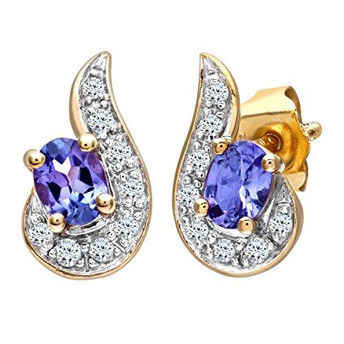 Revoni Bague en or jaune 9carats serti de diamants boucles d'oreilles avec tanzanite