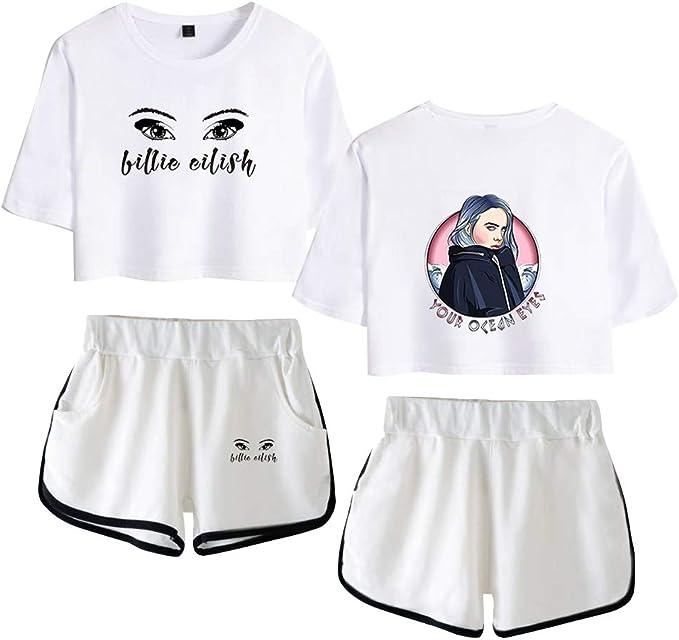 Landove Billie Eilish Damen Trainingsanzug 2 Teilig Crop Top Und Shorts Gr L Farbe 04 Amazon De Bekleidung