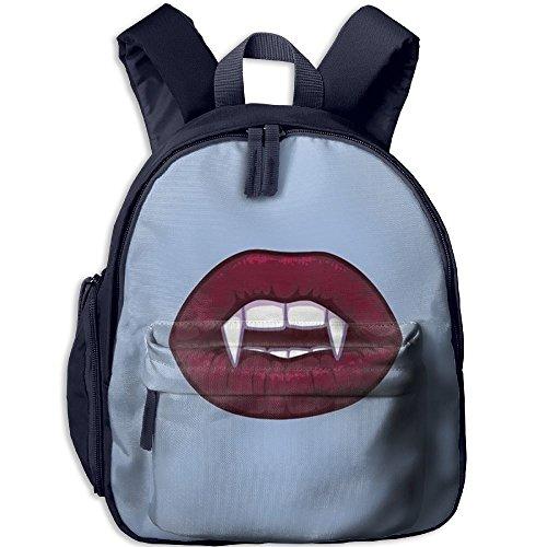 Vampire Kiss Kid Girl Adorable School Bag Bookbag Roomy Outdoors Shoulders Bag Backpacks 12.5
