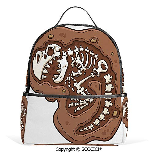 (Hot Sale Backpack outdoor travel T Rex in the Ground Clip Art Style Dead Bones Archeology Prehistory Theme,Brown White,With Water Bottle Pockets)