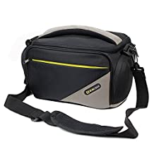 Evecase Large SLR Nylon Camera Case with Strap for Nikon P900, D810A, D5500, D750, D810, L830 Digital Camera - Black and Gray