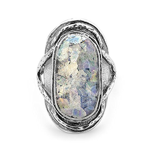 - Ancient Roman Glass Ring Oval Shape Antiqued Sterling Silver, 10